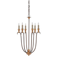 Currey & Company Oriana 6 Light Chandelier in Hand Rubbed Bronze and Gold Leaf 9606