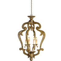 Currey & Company Chancellor 4 Light Chandelier in Distressed Silver Leaf 9608