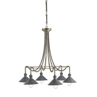 Currey & Company Damien 6 Light Chandelier in Pyrite Bronze and French Black 9609