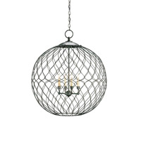 Simpatico 4 Light 31 inch Hiroshi Gray Orb Chandelier Ceiling Light