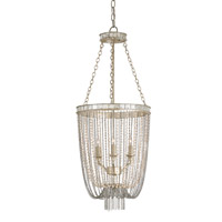 Currey & Company Socialite 3 Light Chandelier in Silver Leaf and Pink and Antique Mirror 9621