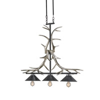 Bavaria 3 Light 10 inch Silver Granello and French Black Chandelier Ceiling Light