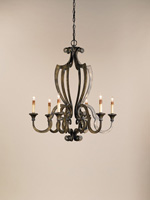 Currey & Company Retrospect 6 Light Chandelier in Bronze Verdigris 9628