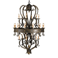 Colossus 24 Light 50 inch Bronze Verdigris/Gold Leaf Chandelier Ceiling Light