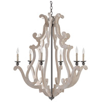 Currey & Company 9636 Durand 6 Light 38 inch Old Iron Chandelier Ceiling Light