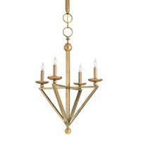 Currey & Company Anthology 4 Light Chandelier in Vintage Brass with Light Beige Shantung 9646