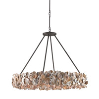 Oyster Circle 8 Light 38 inch Textured Bronze and Natural Chandelier Ceiling Light