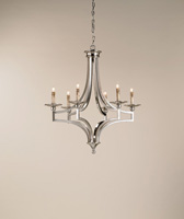 Currey & Company Nocturne 6 Light Chandelier in Nickel 9674