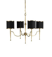 Currey & Company Primo 4 Light Chandelier in Brass/Black 9679