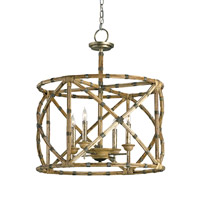 Currey & Company 9694 Palm Beach 4 Light 25 inch Pyrite Bronze/Washed Wood/Natural Lantern Ceiling Light