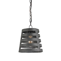 Currey & Company Mythmaker 1 Light Pendant in Blackened Steel 9700