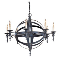Currey & Company Armillary 8 Light Chandelier in Blacksmith 9711