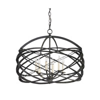 Currey & Company Horatio 6 Light Chandelier in Black Iron 9729