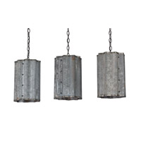 Currey & Company Frontier 3 Light Pendant in Old Iron and Galvanized 9736