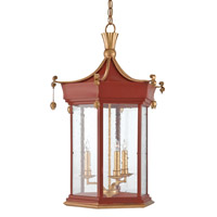 Currey & Company Lillian August 3 Light Lantern in Lollipop Red and Contemporary Gold Leaf 9737
