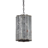 Currey & Company Frontier 1 Light Pendant in Old Iron and Galvanized 9739
