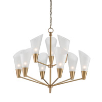 Currey & Company Cornet 9 Light Chandelier in Satin Brass and Opaque 9749