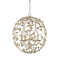 Currey & Company Vivienne 5 Light Chandelier in Silver Granello 9752