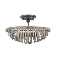 Currey & Company Upton 2 Light Semi-Flush Mount in Black Iron and Antique Nickel 9758