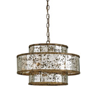 Currey & Company 9759 Fantine 4 Light 18 inch Pyrite Bronze/Raj Mirror Chandelier Ceiling Light Small