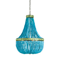 Currey & Company Hedy 4 Light Chandelier in Pyrite Bronze/Turquoise/Jade 9770
