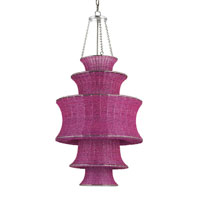 Currey & Company Houri 1 Light Pendant in Fuchsia/Nickel 9779 photo thumbnail