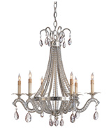 Currey & Company Chartres 6 Light Chandelier in Silver Leaf 9780