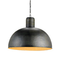 Currey & Company Saga 1 Light Pendant in Dark Blackened Steel 9781