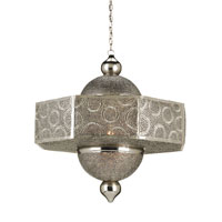 Currey & Company Abadan 1 Light Pendant in Nickel & Copper/Amber 9783