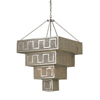 Currey & Company Arabiah 1 Light Pendant in Nickel & Copper/Amber 9784