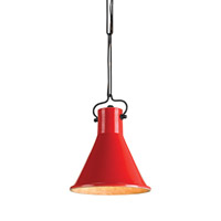 Currey & Company Rooke 1 Light Pendant in Satin Black/Red 9786