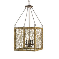 Currey & Company Entwined 4 Light Lantern in Rust/Chestnut 9788
