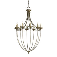 Currey & Company Celeste 10 Light Chandelier in Annatto Antique Silver 9790
