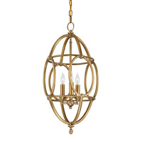 Currey & Company Firelight 3 Light Lantern in Antique Brass 9792