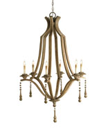 Currey & Company Simplicity 6 Light Chandelier in Washed Wood 9798
