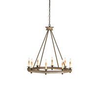 Currey & Company Bonfire 8 Light Chandelier in Antique Rust/Washed Wood 9799