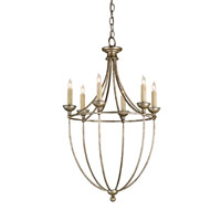 Currey & Company Celeste 6 Light Chandelier in Annatto Antique Silver 9815
