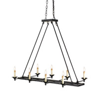 Currey & Company 9816 Houndslow 8 Light 22 inch Satin Black Chandelier Ceiling Light
