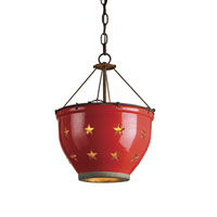 Currey & Company Star 1 Light Colander Pendant in Rust/Antique Gold/Red Crackle 9819