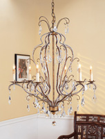 Currey & Company Vienna 6 Light Chandelier in Rhine Gold/Swarovski Crystal 9826
