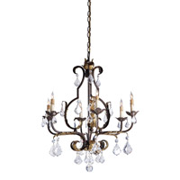 Currey & Company Tuscan 6 Light Chandelier in Venetian/Gold Leaf/Swarovski Crystal 9828