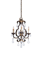 Currey & Company Tuscan 3 Light Chandelier in Venetian/Gold Leaf/Swarovski Crystal 9829