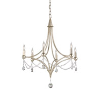 Etiquette 6 Light 24 inch Chinois Antique Silver Leaf Chandelier Ceiling Light