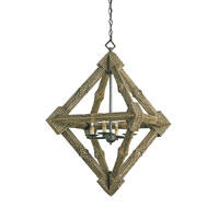 Currey & Company Hobo 4 Light Chandelier in Old Iron/Hobo Brown 9833 photo thumbnail