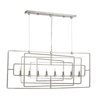 Metro 8 Light 54 inch Contemporary Silver Leaf Chandelier Ceiling Light