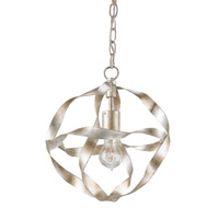 Currey & Company Cordon 1 Light Pendant in Silver Granello 9839