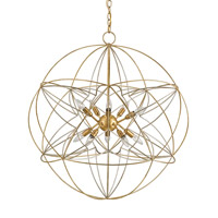 Currey & Company 9840 Zenda 10 Light 34 inch Contemporary Gold Leaf Chandelier Ceiling Light