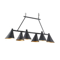 Currey & Company Culpepper 6 Light Chandelier in French Black and Contemporary Gold Leaf 9841