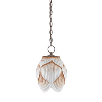 Currey & Company Thalia 1 Light Pendant in Antique White and Rust 9842