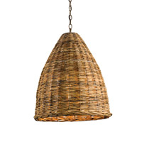Currey & Company Basket 1 Light Pendant in Natural 9845
